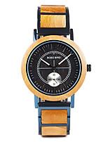 Недорогие -Муж. Спортивные часы Японский Японский кварц Стильные Дерево Черный / Оранжевый / Коричневый 30 m деревянный Аналоговый Мода Дерево - Коричневый Оранжево-красный Черный / Желтый / Один год