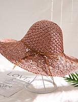 Недорогие -Жен. Активный Классический Симпатичные Стиль Соломенная шляпа Шляпа от солнца Солома,Контрастных цветов Все сезоны Розовый Красный Темно синий
