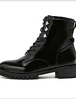 Недорогие -Жен. Ботинки На плоской подошве Круглый носок Полиуретан Сапоги до середины икры Наступила зима Черный