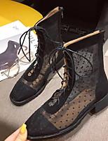 Недорогие -Жен. Ботинки Блочная пятка Круглый носок Полиуретан Ботинки Лето Черный / Хаки