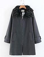 Недорогие -Жен. Повседневные Зима Длинная Пальто, Однотонный Приподнятый круглый Длинный рукав Искусственный мех Серый