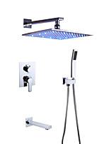 Недорогие -Смеситель для душа - Современный Хром На стену Керамический клапан Bath Shower Mixer Taps