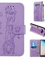 Недорогие -чехол для samsung galaxy s10 s10 plus чехол для телефона искусственная кожа материал тиснением кошка и тигр сплошной цвет чехол для телефона s10 e s9 plus s9