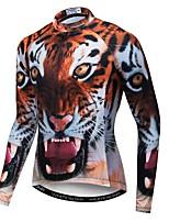 Недорогие -WEIMOSTAR 3D Животное Tiger Муж. Длинный рукав Велокофты - Коричневый Велоспорт Джерси Верхняя часть Дышащий Влагоотводящие Быстровысыхающий Виды спорта Полиэстер Эластан Терилен / Слабоэластичная