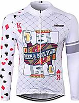 Недорогие -21Grams Покер Муж. Длинный рукав Велокофты - Белый Велоспорт Джерси Верхняя часть Устойчивость к УФ Дышащий Влагоотводящие Виды спорта 100% полиэстер Горные велосипеды Шоссейные велосипеды Одежда