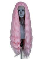 Недорогие -Синтетические кружевные передние парики Волнистый Стиль Боковая часть Лента спереди Парик Розовый Розовый Искусственные волосы 20-26 дюймовый Жен. Регулируется / Жаропрочная / Для вечеринок Розовый