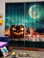 Недорогие -темный стиль украшения окна шторы странный хэллоуин зеленый звездное небо pumpkin3d печать затемнения пользовательские занавес