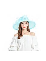 Недорогие -Жен. Для вечеринки Классический Симпатичные Стиль Шляпа от солнца Солома,Цветочный принт Светло-синий