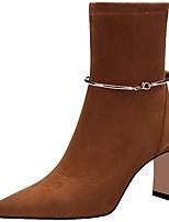 Недорогие -Жен. Ботинки Блочная пятка Заостренный носок Замша Зима Коричневый