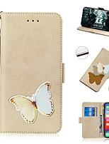 Недорогие -чехол для apple iphone xs / iphone xr / iphone xs max кошелек / держатель карты / противоударный чехол для всего тела бабочка из искусственной кожи для iphone 8 plus / iphone 7 plus / iphone 6s plus /