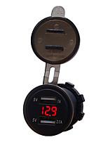 Недорогие -автомобильный мотоцикл 12v мобильный телефон автомобильное зарядное устройство Dual USB 3.1a зарядное устройство прикуривателя модели синий 3.1a двойной USB вольтметр