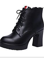 Недорогие -Жен. Ботинки На толстом каблуке Круглый носок Полиуретан Ботинки Наступила зима Черный