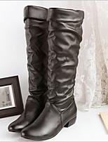 Недорогие -Жен. Ботинки На плоской подошве Круглый носок Полиуретан Сапоги до колена Наступила зима Черный / Белый / Коричневый