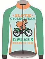 Недорогие -21Grams Животное леность Муж. Длинный рукав Велокофты - Синий + зеленый Велоспорт Джерси Верхняя часть Устойчивость к УФ Дышащий Влагоотводящие Виды спорта 100% полиэстер / Слабоэластичная