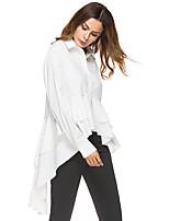 Недорогие -Жен. Оборки / Пэчворк Рубашка Классический Однотонный Белый