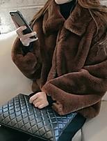 Недорогие -Жен. Повседневные Обычная Куртка, Однотонный Рубашечный воротник Длинный рукав Полиэстер Серый / Светло-коричневый / Хаки