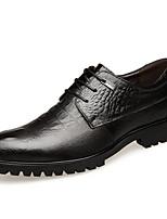 Недорогие -Муж. Официальная обувь Наппа Leather / Микроволокно Весна лето / Наступила зима Деловые / Английский Туфли на шнуровке Дышащий Черный / Темно-русый