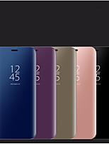 Недорогие -Кейс для Назначение SSamsung Galaxy S9 / S9 Plus / S8 Plus со стендом / Зеркальная поверхность Чехол Однотонный Кожа PU / ПК