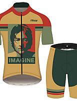 Недорогие -21Grams Джон Леннон Муж. С короткими рукавами Велокофты и велошорты - Черный / оранжевый Велоспорт Наборы одежды Дышащий Влагоотводящие Быстровысыхающий Виды спорта 100% полиэстер Горные велосипеды