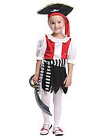 Недорогие -Пираты Карибского моря Инвентарь Детские Девочки Хэллоуин Хэллоуин Фестиваль / праздник Спандекс Полиэфир / полиамид Черный Карнавальные костюмы