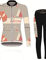 Недорогие -21Grams Цветочные ботанический Лиса Жен. Длинный рукав Велокофты и лосины - Черный / оранжевый Велоспорт Наборы одежды Устойчивость к УФ Дышащий Влагоотводящие Виды спорта Зима Спандекс