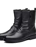 Недорогие -Муж. Армейские ботинки Полиуретан Наступила зима Ботинки Сапоги до середины икры Черный