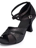 Недорогие -Жен. Танцевальная обувь Синтетика Обувь для латины Планка На каблуках Кубинский каблук Персонализируемая Черный / Выступление