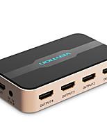 Недорогие -разветвитель HDMI 1x4 1 в 4 выход для ноутбука tvbox ps3 / 4 адаптер hdmi-коммутатора с блоком питания hd switcher 4kx2k 3d сплиттер