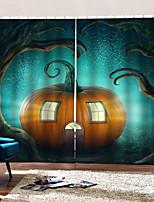 Недорогие -Горячая внешняя торговля 3d печать высокого качества занавески для душа утолщение плотные шторы ткань тыквы и дерева водонепроницаемый против морщин 100% полиэстер занавес