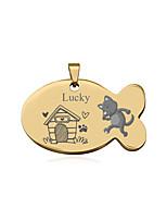 Недорогие -Персонализированные Индивидуальные Теги для домашних животных Классический Подарок Повседневные 1pcs Черный Серебряный Розовое Золото / Лазерная гравировка