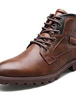 Недорогие -Муж. Комфортная обувь Полиуретан Наступила зима Ботинки Дышащий Ботинки Черный / Коричневый