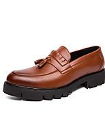 Недорогие -Муж. Кожаные ботинки Наппа Leather Весна лето Мокасины и Свитер Дышащий Черный / Желтый
