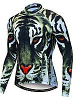 Недорогие -WEIMOSTAR 3D Животное Tiger Муж. Длинный рукав Велокофты - Естественно-зеленный Велоспорт Джерси Верхняя часть Дышащий Влагоотводящие Быстровысыхающий Виды спорта Полиэстер Эластан Терилен / Лайкра