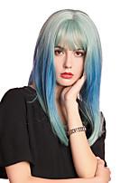 Недорогие -Парики из искусственных волос / Чёлки Прямой / Естественный прямой Стиль Аккуратная челка Без шапочки-основы Парик Синий Тёмно-синий Искусственные волосы 16 дюймовый Жен.
