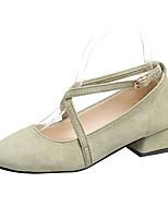 Недорогие -Жен. Обувь на каблуках На толстом каблуке Круглый носок Полиуретан Минимализм Лето Черный / Зеленый / Розовый