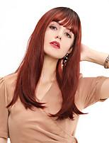 Недорогие -Парики из искусственных волос / Чёлки Прямой / Естественный прямой Стиль Аккуратная челка Без шапочки-основы Парик Вино Темный бургундский Искусственные волосы 24 дюймовый Жен.