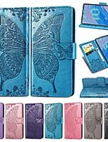 Недорогие -чехол для samsung galaxy note 9 / note 8 / galaxy note 10 кошелек / держатель для карт / противоударный чехол для всего тела сплошной цвет / бабочка из искусственной кожи чехол для samsung galaxy note