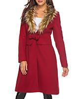 Недорогие -Жен. Повседневные Зима Длинная Пальто, Однотонный V-образный вырез Длинный рукав Полиэстер Винный / Тонкие