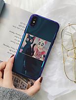 Недорогие -Кейс для Назначение Apple iPhone XS / iPhone XR / iPhone XS Max Ультратонкий / С узором Кейс на заднюю панель Кот / Мультипликация ТПУ