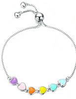 Недорогие -цвет эмаль сердце браслет для женщин в форме сердца стерлингового серебра 925 пробы браслет антиаллергенные ювелирные изделия