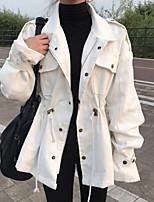 Недорогие -Жен. Повседневные Наступила зима Обычная Куртка, Однотонный Приподнятый круглый Длинный рукав Полиэстер Белый