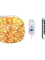 Недорогие -10 м Наборы ламп / Гирлянды 100 светодиоды SMD 0603 1 пульт дистанционного управления Keys Тёплый белый / Белый / Разные цвета Водонепроницаемый / USB / Для вечеринок 5 V / Работает от USB 1шт