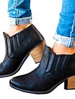 Недорогие -Жен. Ботинки На толстом каблуке Заостренный носок Полиуретан Ботинки Весна & осень Черный / Коричневый / Серый