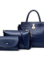 cheap -Women's Zipper PU Bag Set Solid Color 3 Pcs Purse Set Black / Blue / Red