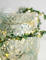 Недорогие -3 м из ротанга гирлянды с искусственными листьями 30 светодиодов теплый белый украшение партии а.
