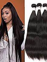 Недорогие -3 Связки Бразильские волосы Прямой Не подвергавшиеся окрашиванию Необработанные натуральные волосы Wig Accessories Головные уборы Человека ткет Волосы 8-28 дюймовый Естественный цвет / Без запаха