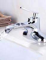 Недорогие -Ванная раковина кран - Водопад Хром Свободно стоящий Одной ручкой Два отверстияBath Taps