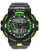 Недорогие -Мальчики электронные часы Цифровой Спортивные Стильные Кожа Черный 30 m Защита от влаги Фосфоресцирующий Повседневные часы Цифровой На каждый день Мода - Черный Зеленый Красный / Один год