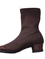 Недорогие -Жен. Ботинки На толстом каблуке Заостренный носок Полиуретан Лето Черный / Коричневый