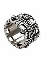 Недорогие -Муж. Кольцо 1шт Серебряный Титановая сталь Круглый Винтаж Классический Мода Повседневные Бижутерия Крест Cool
